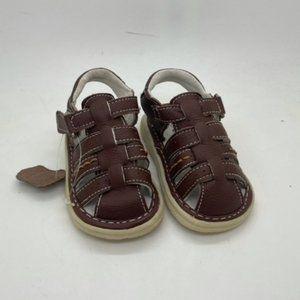 Kids Shoes Stingray Bert Brown Leather Hook & loop Toddler Sandal Shoe